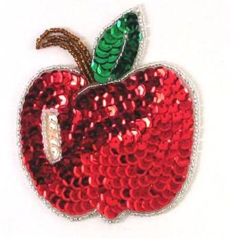 """0395  Apple Sequin Beaded Applique 3.5"""""""
