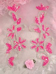 0396  Hot Pink Beaded Sequin Appliques Mirror Pair