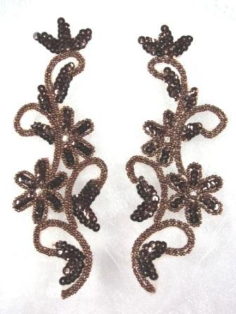 0396  Chocolate Brown Beaded Sequin Appliques Mirror Pair