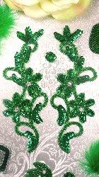 0396  Green Beaded Sequin Appliques Mirror Pair