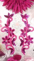 """0396  Fuchsia Beaded Sequin Appliques Mirror Pair 7"""""""