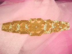 """0397 Gold Beaded Designer Applique with Rhinestones 8"""""""