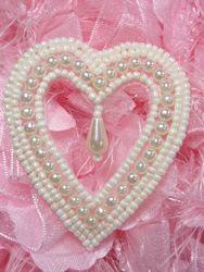 "0403 Ivory Pearl Heart Designer Beaded Applique 2.5"""