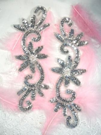 0405  Silver Floral Mirror Pair Sequin Beaded Appliques