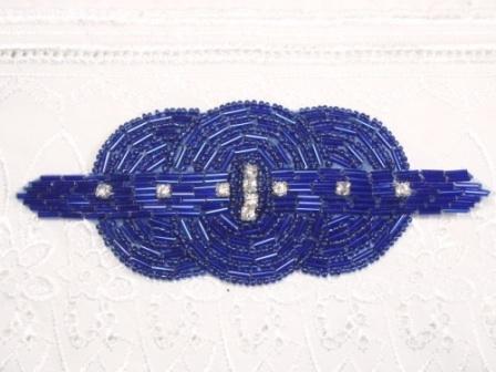 "0409  Royal Blue Rhinestone Triple Circle  Beaded Applique  5.75"""