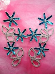 0416 Turquoise Sliver Floral Mirror Pair Sequin Beaded Appliques