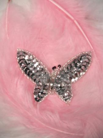 """0421  Silver Butterfly Sequin Beaded Applique 2.5"""""""