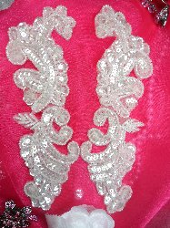0422 Crystal Mirror Pair Beaded Sequin Appliques