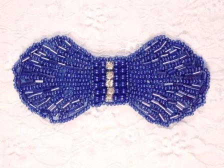 HB4340  Blue Rhinestone Bow Beaded Hair bow
