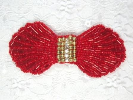 HB4340  Red Gold Rhinestone Bow Beaded Hair bow