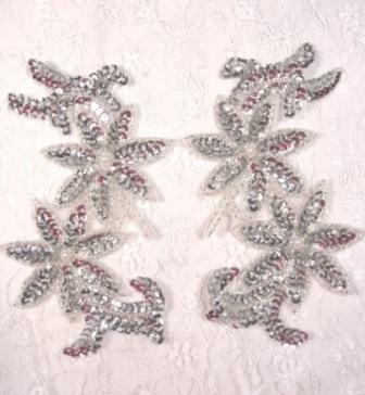 """0439 Silver Pearl Mirror Pair Beaded Sequin Appliques 6"""""""