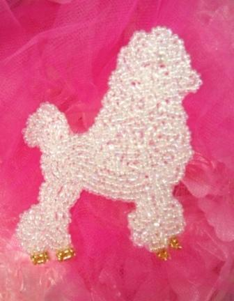 """0442 Crystal AB Poodle Beaded Applique 3.5"""""""