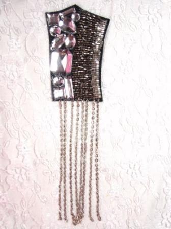 "0445  Black Silver Chain Jewel Beaded Applique 8"""