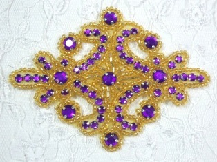 "0470 Purple Gold Rhinestone Beaded Hair Bow / Brooch / Applique 4"""