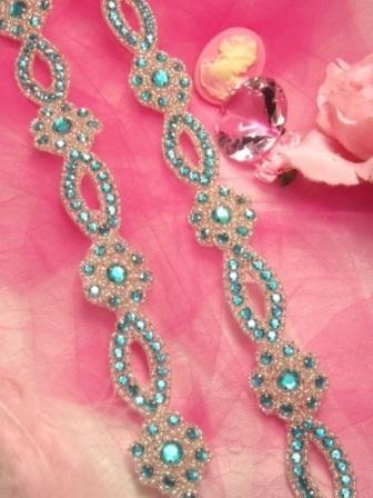 "0474  Turquoise & Silver Rhinestone Jewel Floral Trim 1.25"""