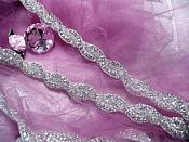 0475  Crystal Clear Rhinestone Braided Silver Beaded Trim
