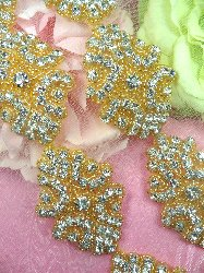 "0477 Gold Backing Cinderella  Genuine Rhinestone Beaded Trim 2"""