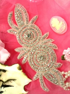 0485 Crystal Double Rose Floral Beaded Rhinestone Applique 7.5""