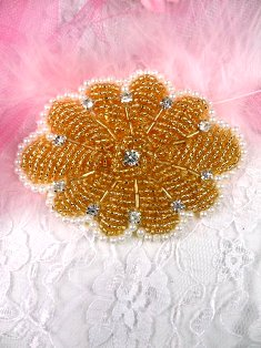 0489 Gold Crystal Pearl Beaded Rhinestone Applique 3""