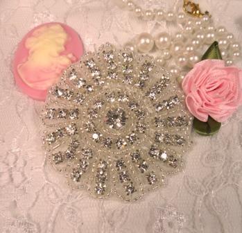 "A0487A  Silver Crystal Floral Rhinestone Appliques 2-3/8"""