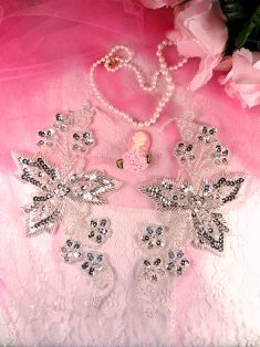 0494 Silver Mirror Pair Floral Vine Beaded Sequin Appliques
