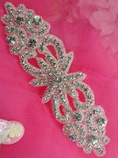 0499   Unconditional Love  Crystal Clear Silver Beaded Rhinestone Applique 7""