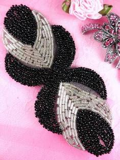 RM0501 REDUCED Eyes of Wisdom Black Silver Beaded Applique 5""