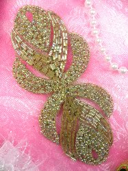 """0501 Eyes of Wisdom Beaded Applique Olive Green 5"""""""