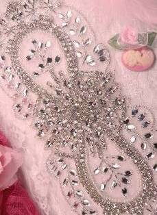 "RM0502 REDUCED  ""Unseen Glory Revealed""  Crystal Clear Silver Beaded Rhinestone Applique 10.5"""