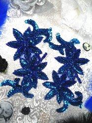 """0505  Blue Mirror Pair Beaded Sequin Appliques 6"""""""