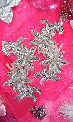 "Flower Sequin Appliques Mirror Pair w/ Silver Beads 6"" (XR375X)"