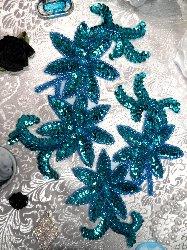 "0505  Turquoise Mirror Pair Beaded Sequin Appliques 6"""