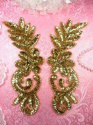 "0507 Gold Floral Flower Mirror Pair Sequin Beaded Appliques Set 8.5"""