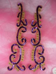 "0509 Appliques Purple Gold Mirror Pair Sequin Beaded Patch Motifs 10"""