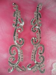 """0509 Appliques Silver Mirror Pair Sequin Beaded Patch Motifs 10"""""""