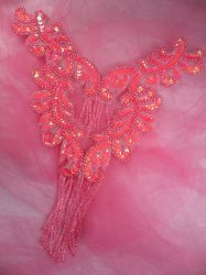 0510 Hot Pink AB Bodice Yoke Sequin Beaded Applique 10""