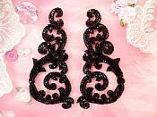 Sequin Appliques Black w/ Beaded edge Dance Costume Motif Mirror Pair (0514X)