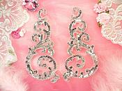 Sequin Appliques Silver Sparkling w/ Beaded edge Dance Costume Motif Mirror Pair (0514X)