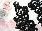 Sequin Appliques Black w/ Beaded edge Dance Costume Motif Mirror Pair (0515X)