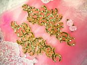 Sequin Appliques Gold w/ Beaded edge Dance Costume Motif Mirror Pair (0515X)