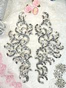 Sequin Appliques Silver w/ Beaded edge Dance Costume Motif Mirror Pair (0515X)