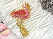 """Flamingo Applique Pink Sequin Gold Beaded Sewing Craft Motif Patch 3.5"""" (0516)"""