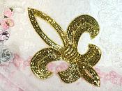 Gold Fleur De Lis Gold Sequin Beaded Applique 13.5""