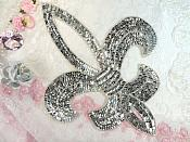 Silver Fleur De Lis Silver Sequin Beaded Applique 13.5""