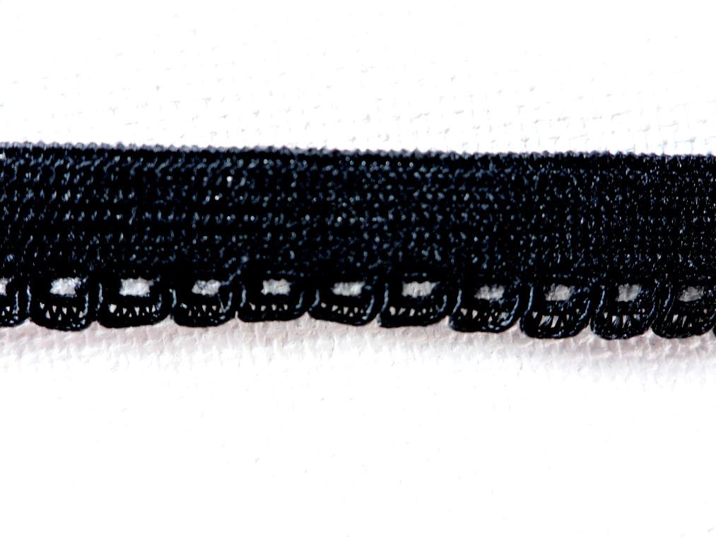 "BL140  Black Elastic Sewing Craft Trim 1/4"""