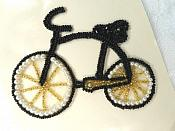 "Bicycle Applique Beaded Pearl Patch Black 4.25"" (LC1874)"