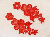 "Embroidered Floral Applique Mirror Pair Red Clothing Patch Craft Motif 6"" (BL114X)"