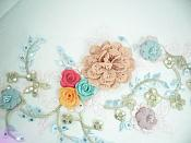 """3 Dimensional Applique Sequin Venice Lace Floral Sewing Clothing Patch 13"""" GB1010"""