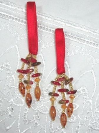 E5572 Set of 2 Red Beaded Tassels 2""