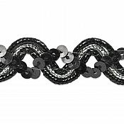 E6962 Black Silver Metallic Braid Sequin Sewing Craft Trim 5/8""